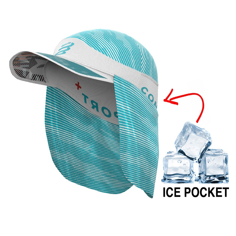 Compressport Ice Cap Sun Shade - White/Blue