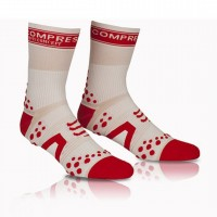 COMPRESSPORT V2 PRO RACING SOCKS BIKE HI - WHITE/RED