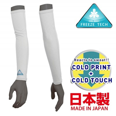 Freeze Tech Cooling Arm Sleeves, White- Ice Effect for Hot Weather/ Fast Dry/ AntiOdor/ AntiUV (Women)