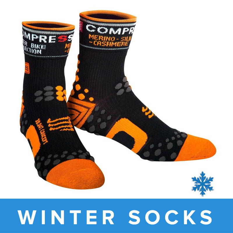 Compressport Winter Bike Socks - Black/Orange