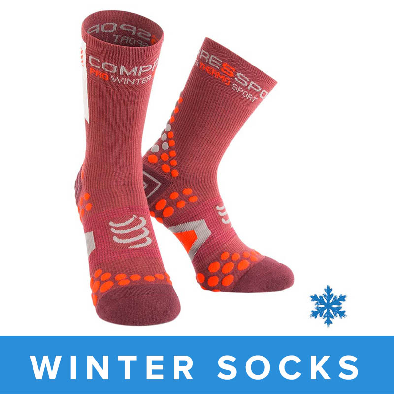 COMPRESSPORT PRO RACING V2.1 WINTER BIKE SOCKS - BURGUNDY