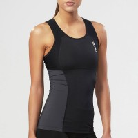 2XU WOMEN ELITE CORE COMPRESSION TANK - BLACK/STEEL