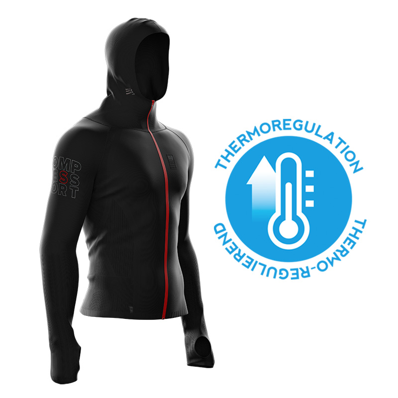 COMPRESSPORT 3D THERMO SEAMLESS WOODPULP ZIP HOODIE - BLACK