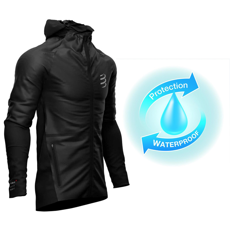 COMPRESSPORT HURRICANE WATERPROOF 25/75 JACKET - BLACK
