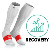 COMPRESSPORT FULL SOCKS RACE & RECOVERY - WHITE