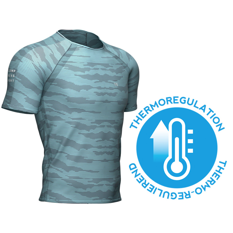 COMPRESSPORT TRAINING SS TSHIRT CAMO STRIPE NILE BLUE