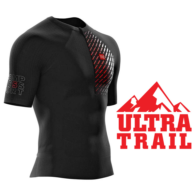 COMPRESSPORT UNISEX TRAIL RUNNING POSTURAL SS TOP - BLACK