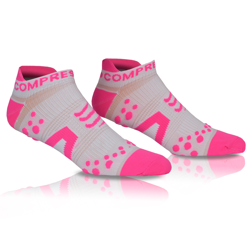COMPRESSPORT PRO RACING SOCKS V2 RUN LOW - WHITE/PINK