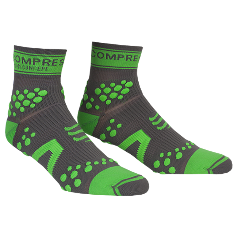 COMPRESSPORT V2 PRO RACING SOCKS TRAIL HI - GREY GREEN