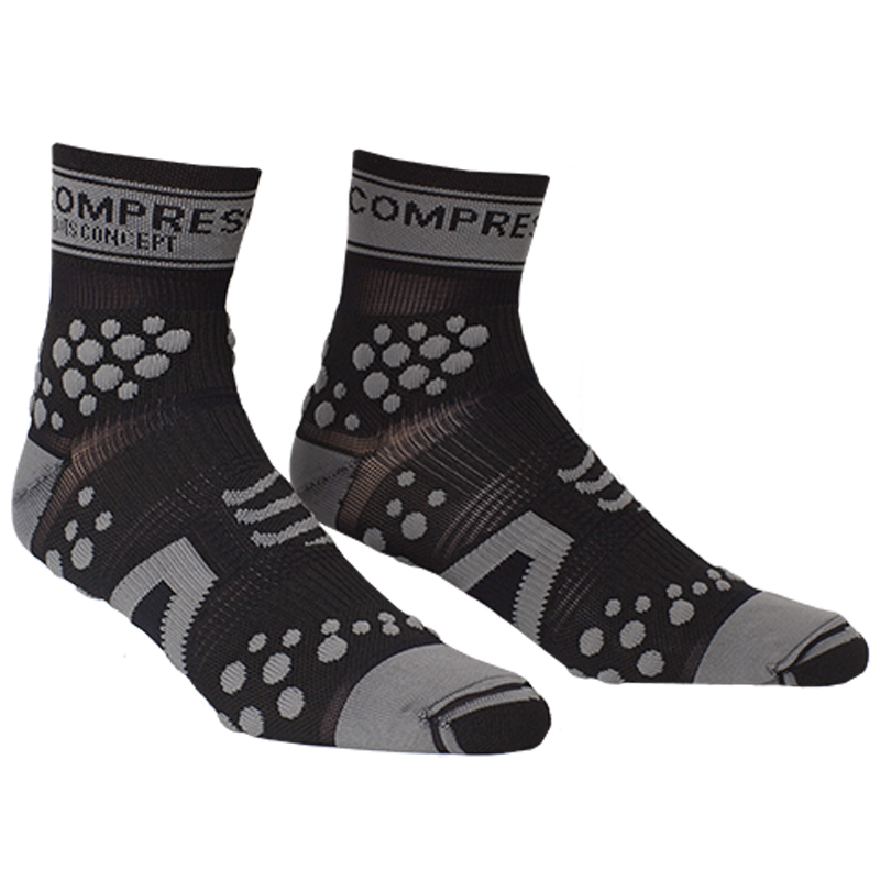 COMPRESSPORT V2 PRO RACING SOCKS TRAIL HI - GREY/BLACK