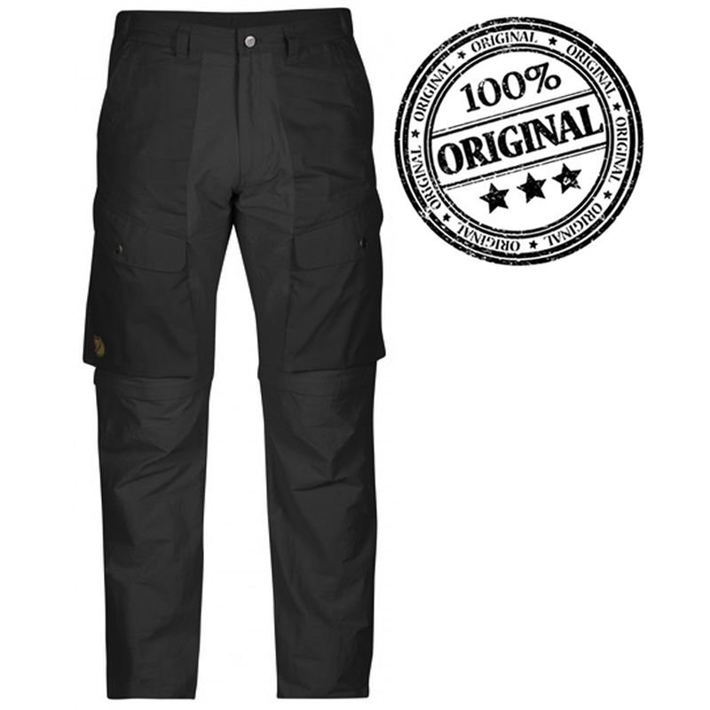 FJALLRAVEN MEN ABISKO HYBRID ZIP-OFF TROUSERS - DARK GREY