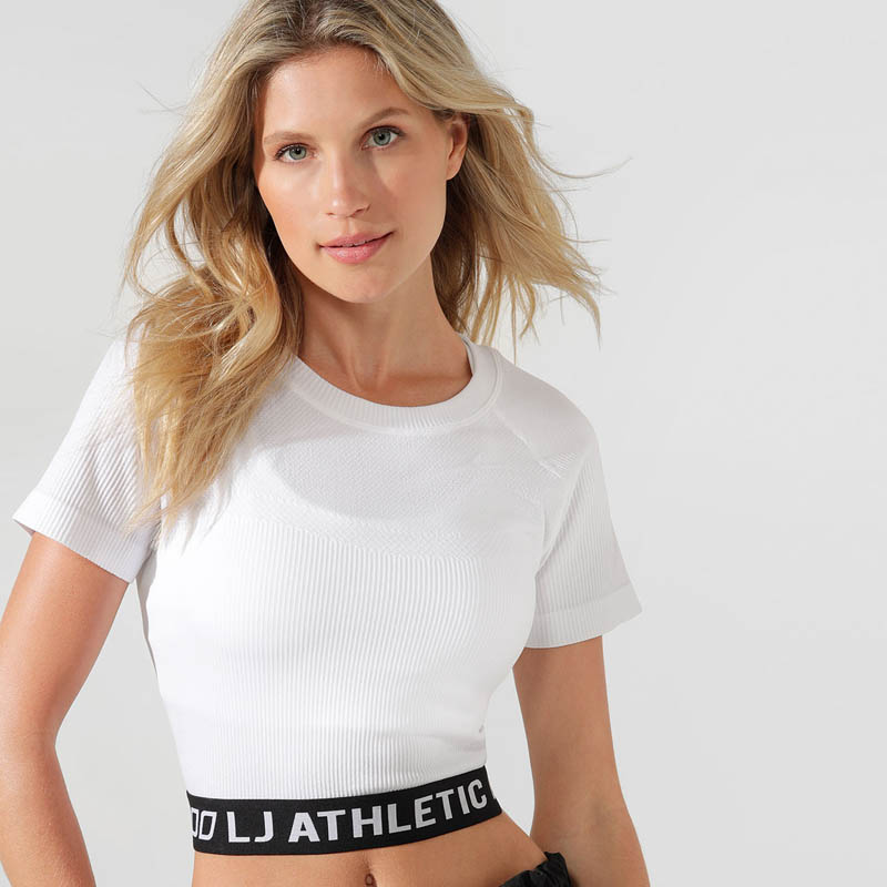 LORNA JANE ATHLETIC CROPPED SEAMLESS TEE WHITE 012013