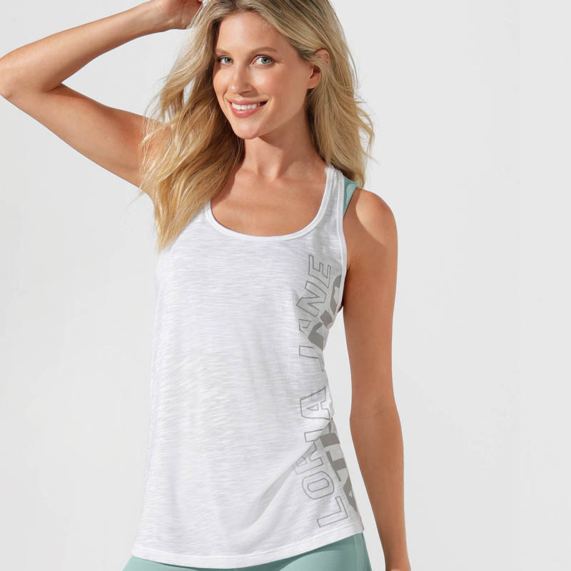 LORNA JANE ATHLETIC SLOUCHY GYM TANK WHITE 012046