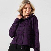 LORNA JANE ICONIC CROPPED HOODIE MIDNIGHT PURPLE 012083