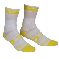 COMPRESSPORT V2 PRO RACING SOCKS BIKE HI - WHITE/YELLOW