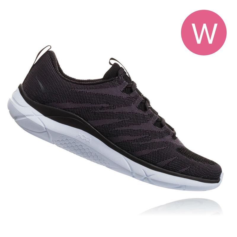 Hoka One One Women Hupana Knit Jacquard Road Shoes - Black/White