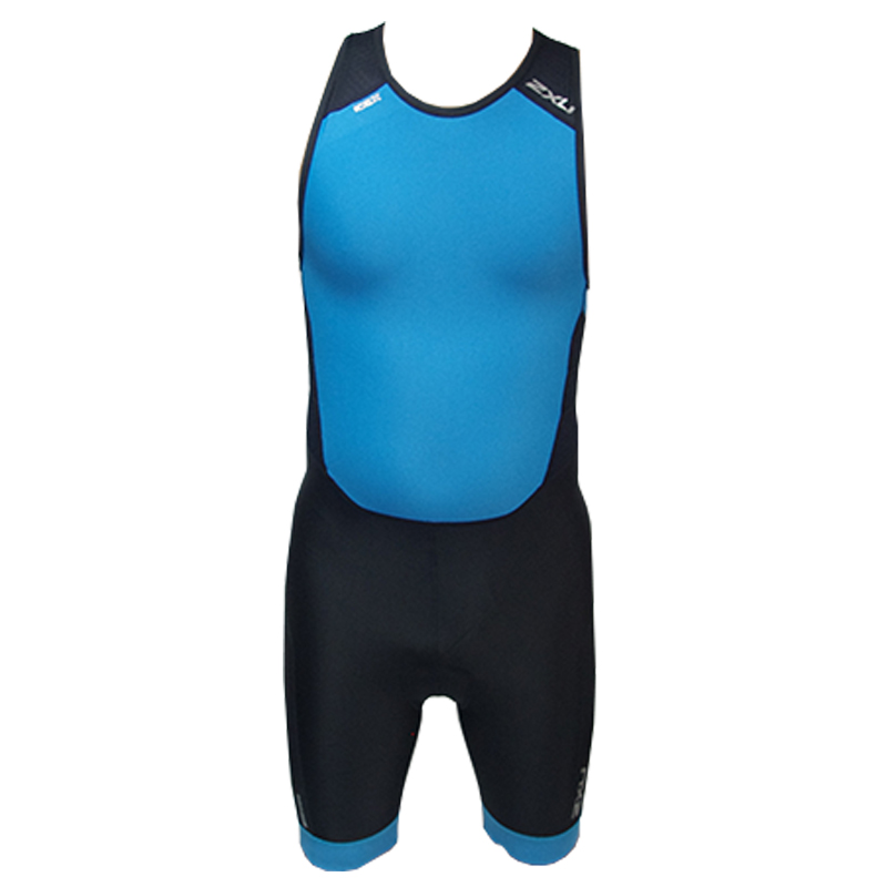 2XU MEN PERFORM REAR ZIP TRISUIT - BLACK/DRESDEN BLUE
