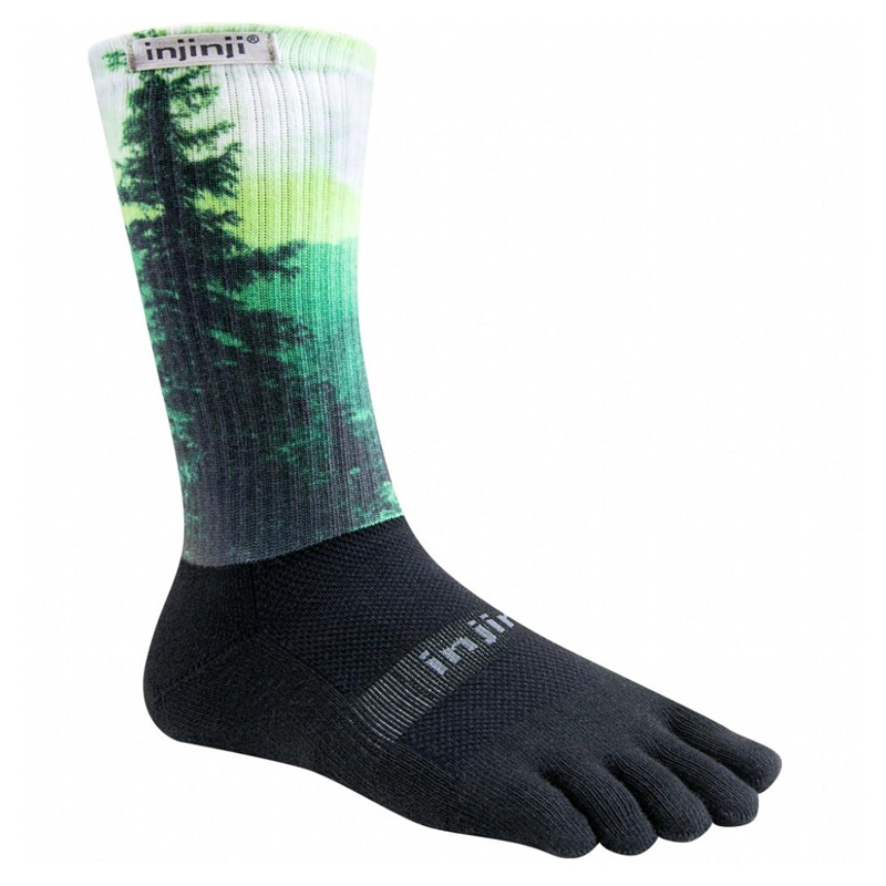 Injinji Trail 2.0 Midweight Crew Coolmax 5 Finger Socks - Forest