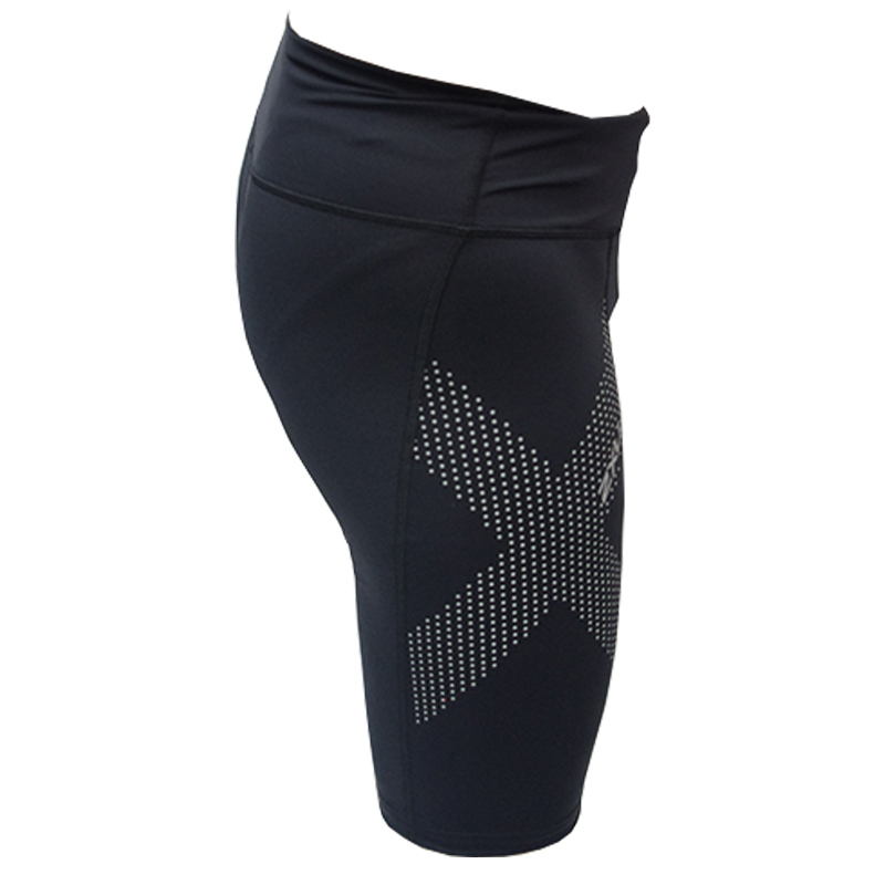 2XU WOMEN MID-RISE COMPRESSION SHORT - BLACK/DOTTED REFLECTIVE LOGO