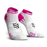 COMPRESSPORT PRO RACING SOCKS V3.0 RUN LOW - WHITE/PINK