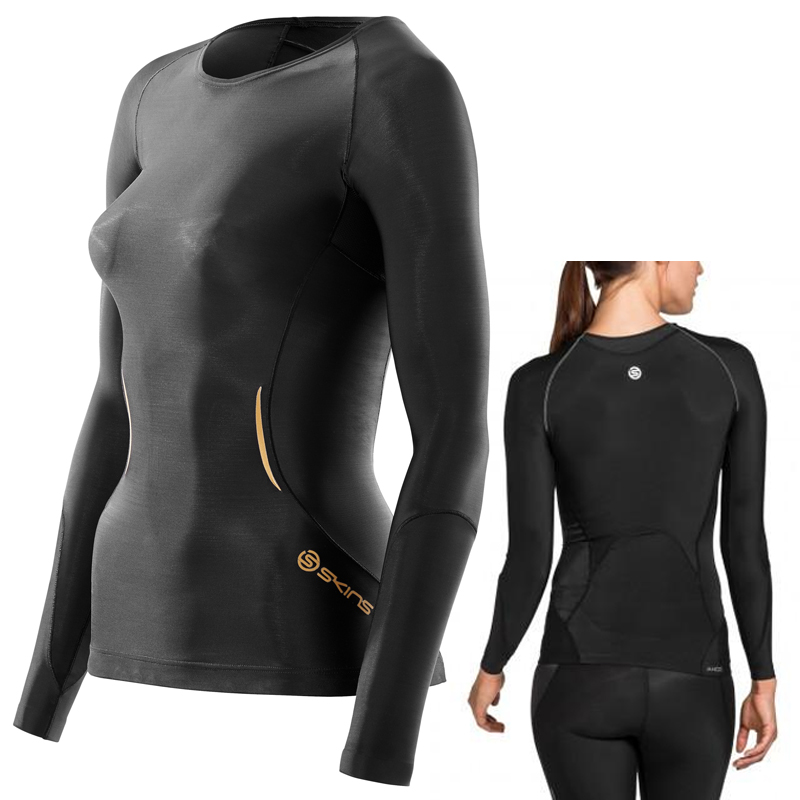 SKINS A400 WOMEN COMPRESSION LONG SLEEVE TOP - BLACK
