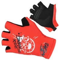 Ekoi Born To Ride Short Finger Gloves - Red