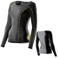 SKINS DNAMIC WOMEN COMPRESSION LONG SLEEVE TOP - BLACK/LIMONCELLO