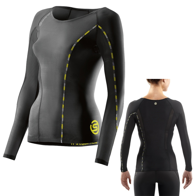 SKINS DNAMIC WOMEN COMPRESSION LONG SLEEVE TOP - BLACK