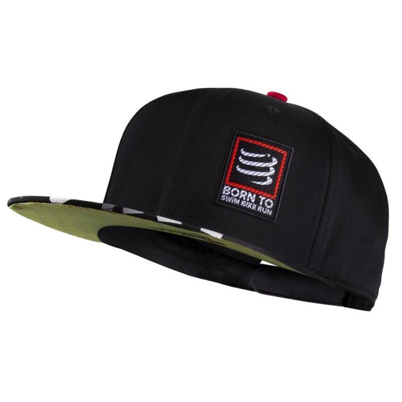 COMPRESSPORT BORN TO SWIM BIKE RUN FLAT CAP - BLACK