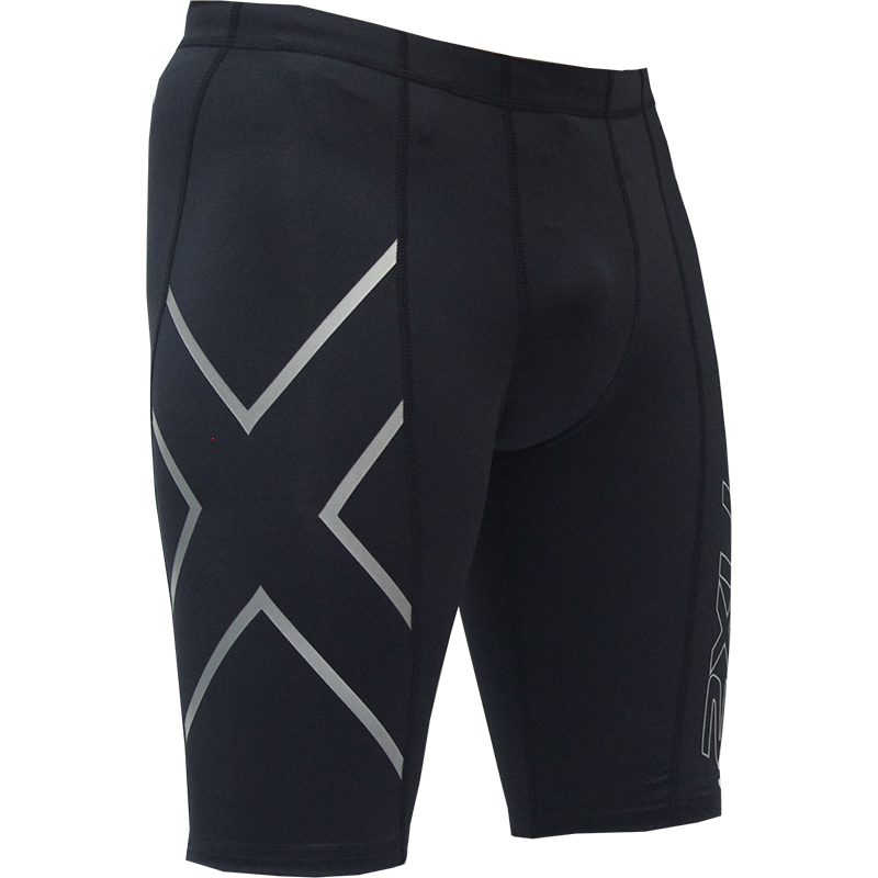2XU Mens Compression Half Shorts Black//Black