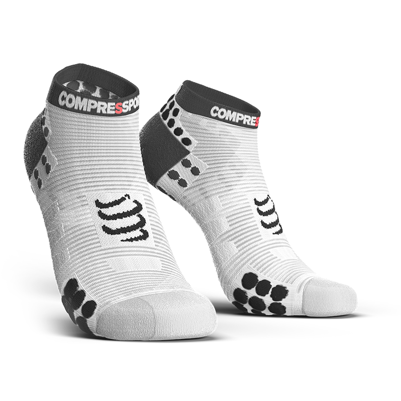 COMPRESSPORT PRO RACING SOCKS RUN LOW - WHITE/BLACK