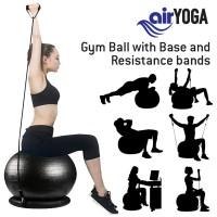 AIR YOGA 2-IN-1 ANTI-BURST GYM BALL & RESISTANCE BAND SET