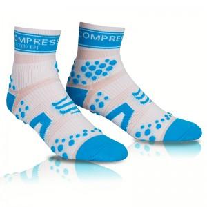 COMPRESSPORT PRO RACING SOCKS V2 RUN HI - WHITE/ BLUE