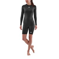 SKINS WOMEN'S COMPRESSION SUIT LONG SLEEVE TOPS 1-SERIES - BLACK